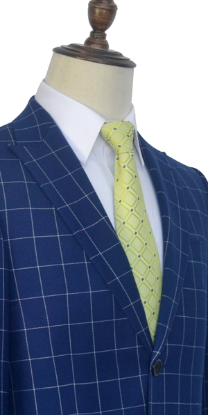 Deep blue grid wool peak lapel custom suit for men