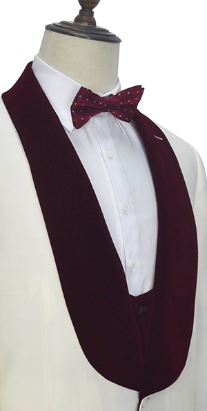 White red velvet collar wool one button wedding suit for groom