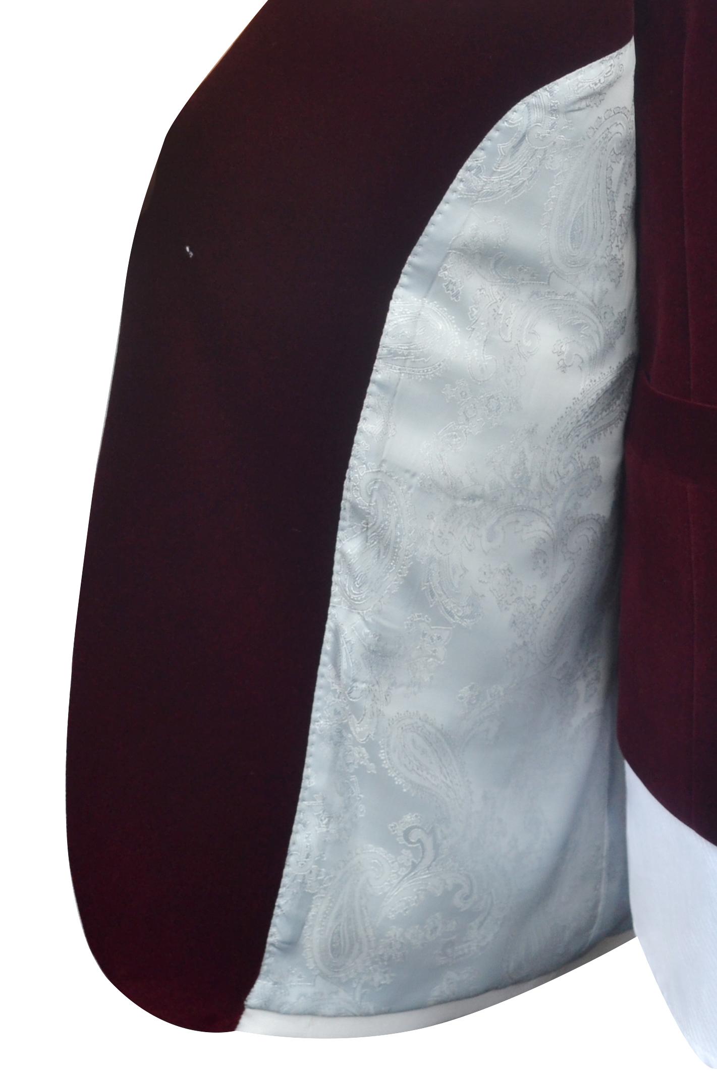 White red velvet collar wool one button wedding suit for groom