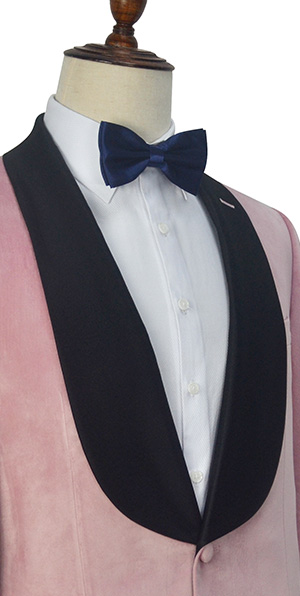 Pink velvet custom three-piece tuxedo suit