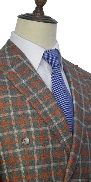 orange and grey checked custom  suit