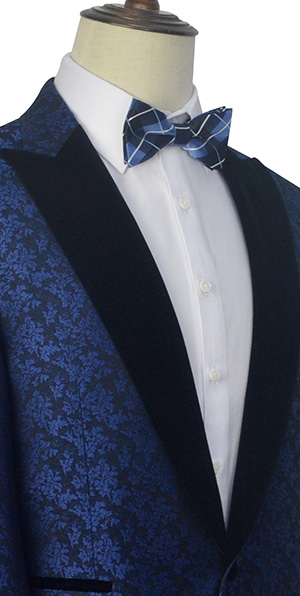 blue floral Velvet peak collar tuxedos