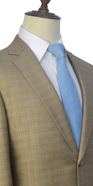 khaki small grid tailored suit