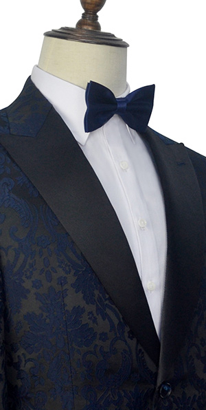 Dark and  blue jacquard slim fit tuxedos